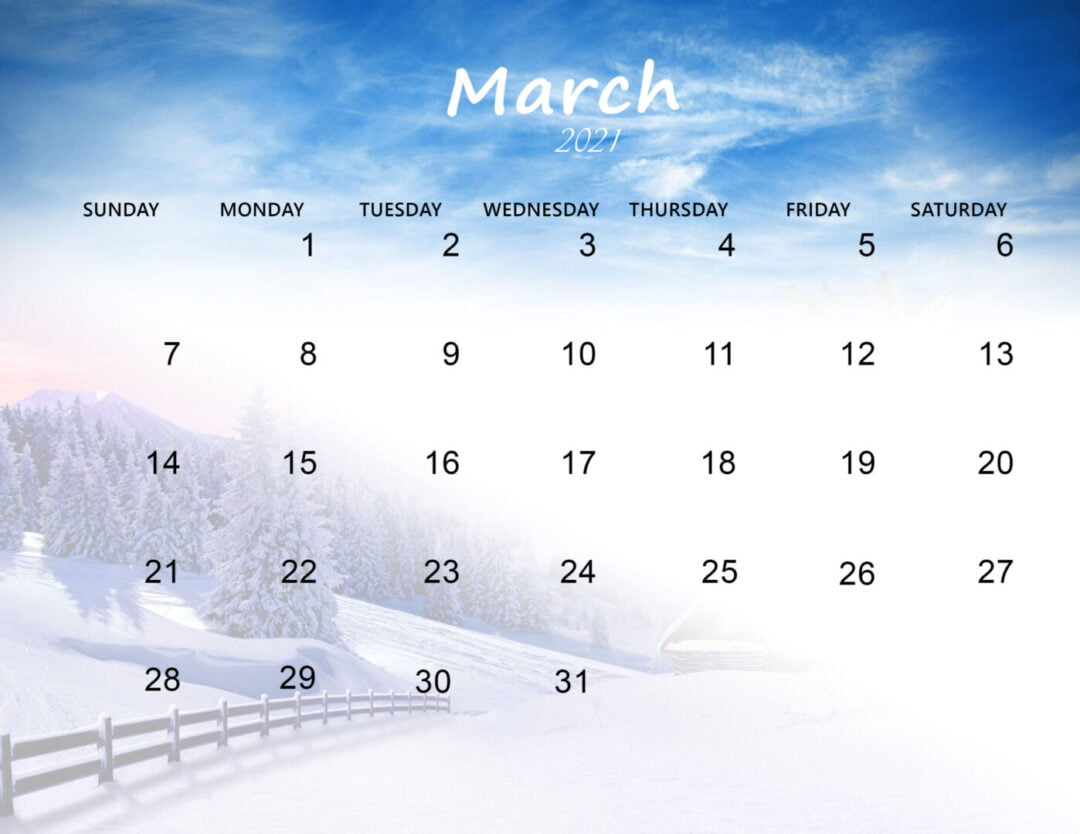 Cute March 2021 Calendar Download