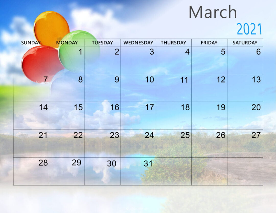Cute March 2021 Calendar Template