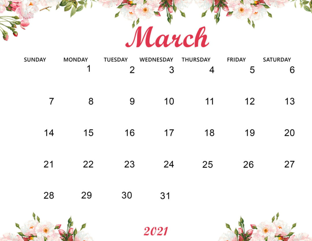 Cute March 2021 Calendar Wallpaper