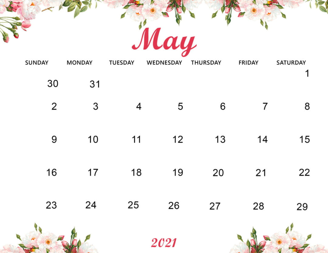 Cute May 2021 Calendar Printable Wallpaper - Thecalendarpedia