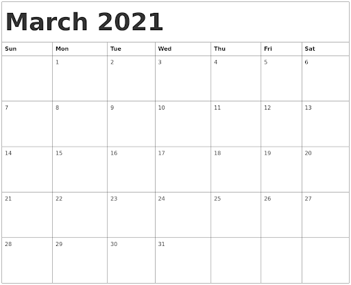 March 2021 Calendar With Holiday