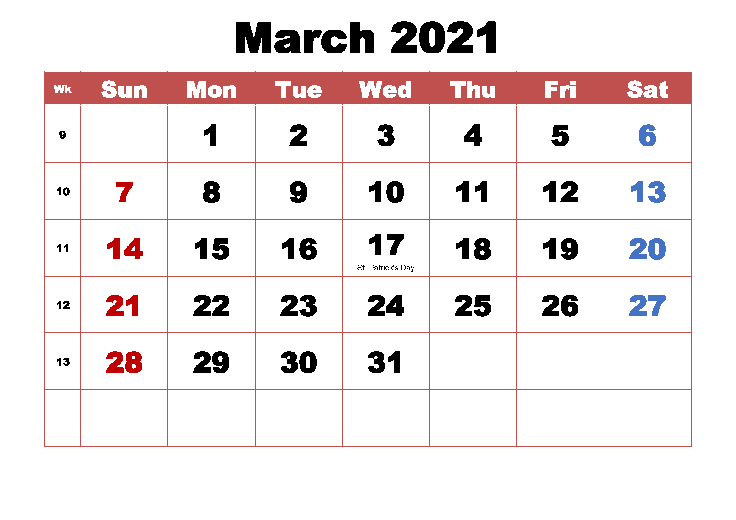March 2021 Calendar With Holidays Download