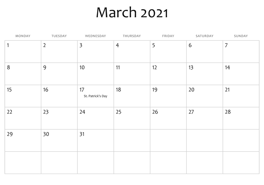 March 2021 Calendar With Holidays Template