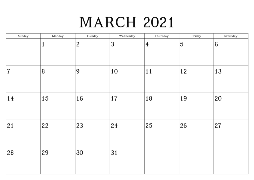 March 2021 Calendar With Holidays With Notes