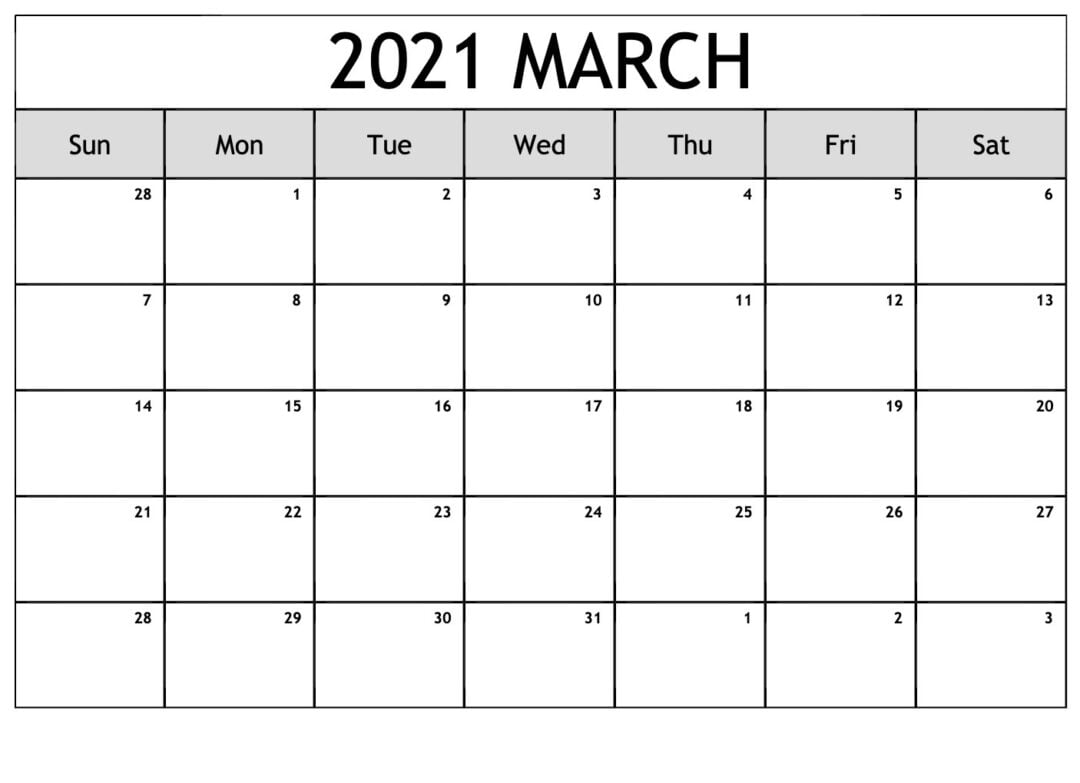 Print March 2021 Calendar With Holidays