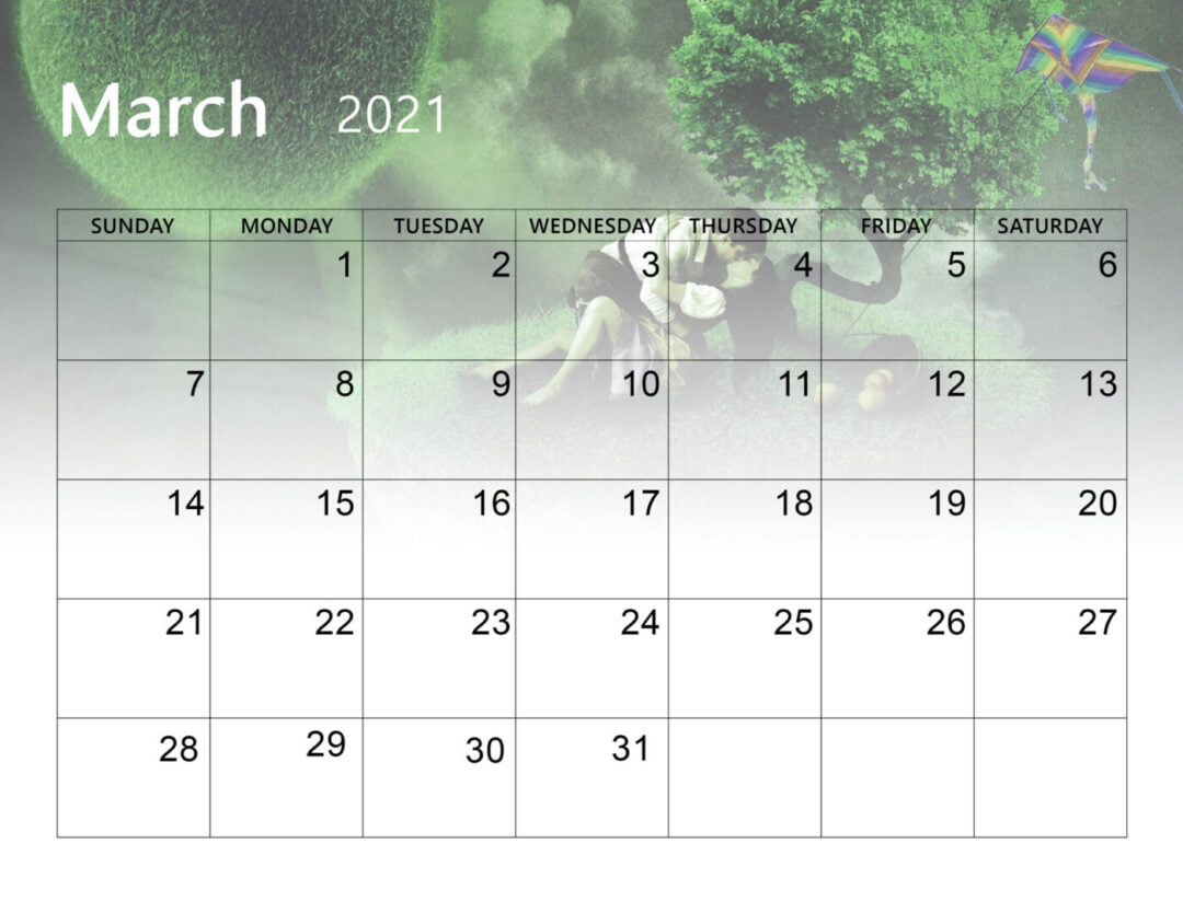 Printable Cute March 2021 Calendar