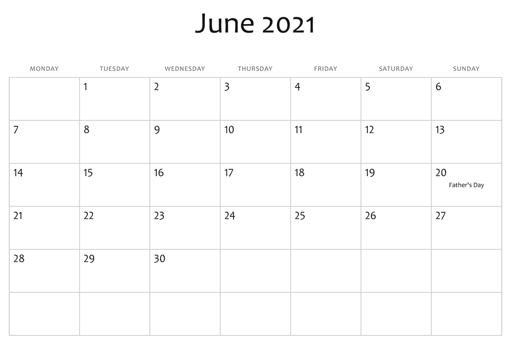 Download June 2021 Calendar With Holidays