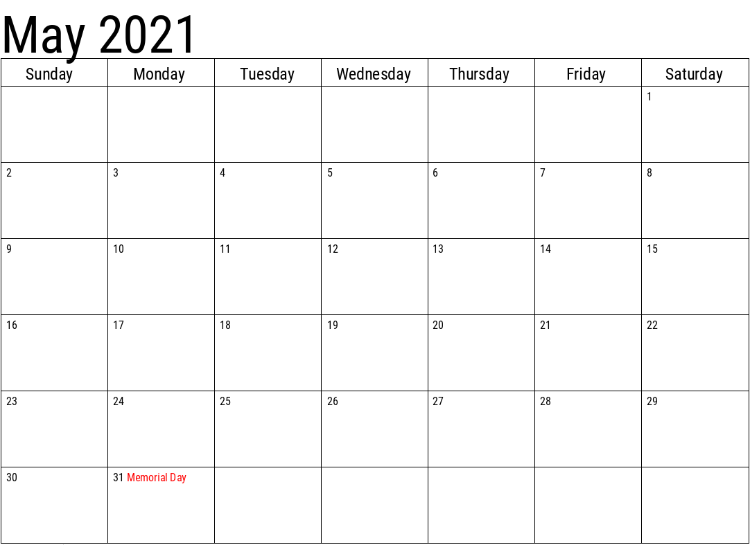 Download May 2021 Calendar With Holidays