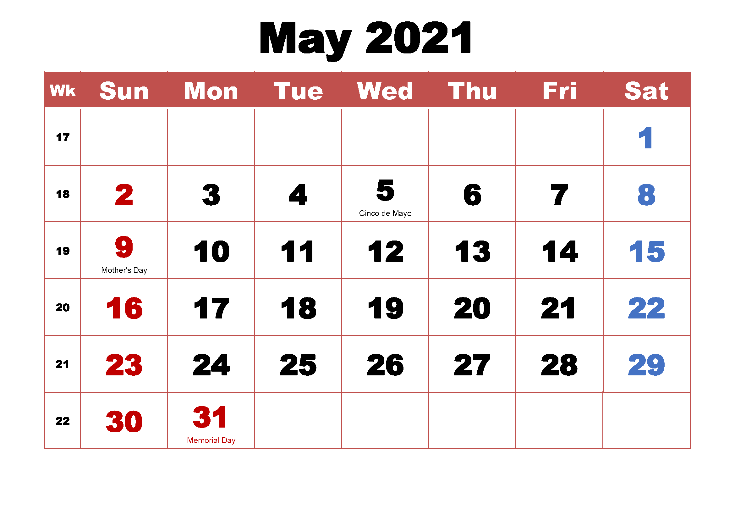 Free May 2021 Calendar With Holidays