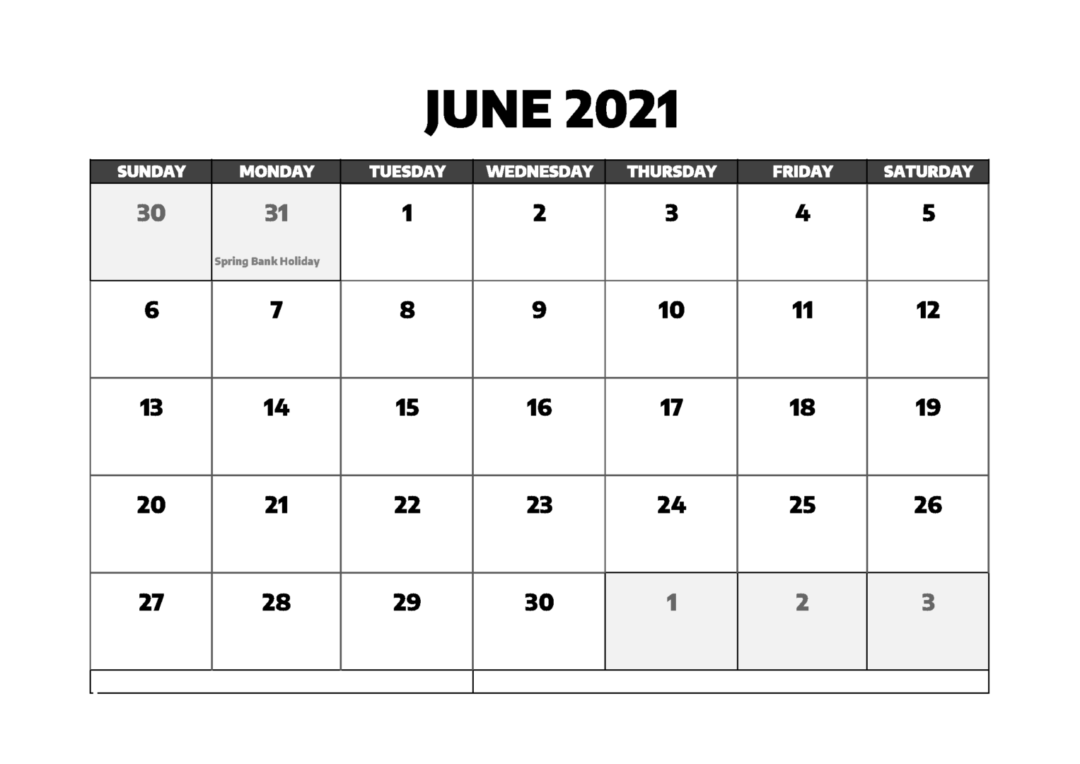 June 2021 Calendar With Holidays Free
