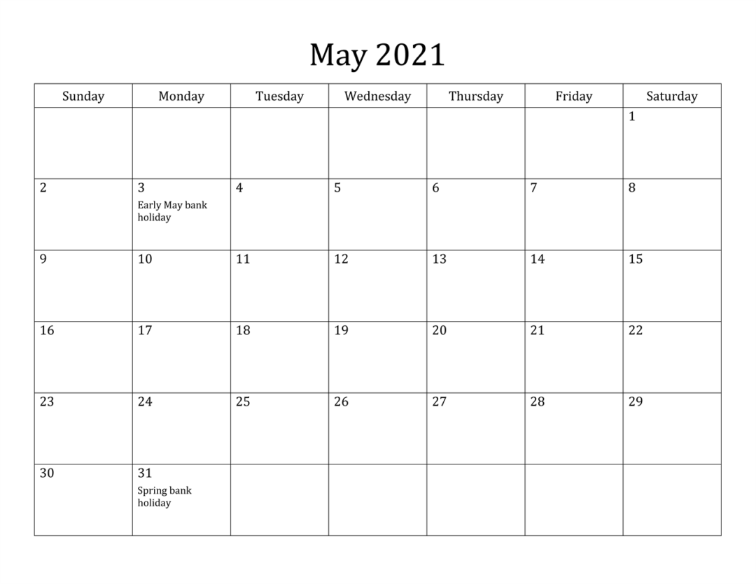 May 2021 Calendar With Holiday