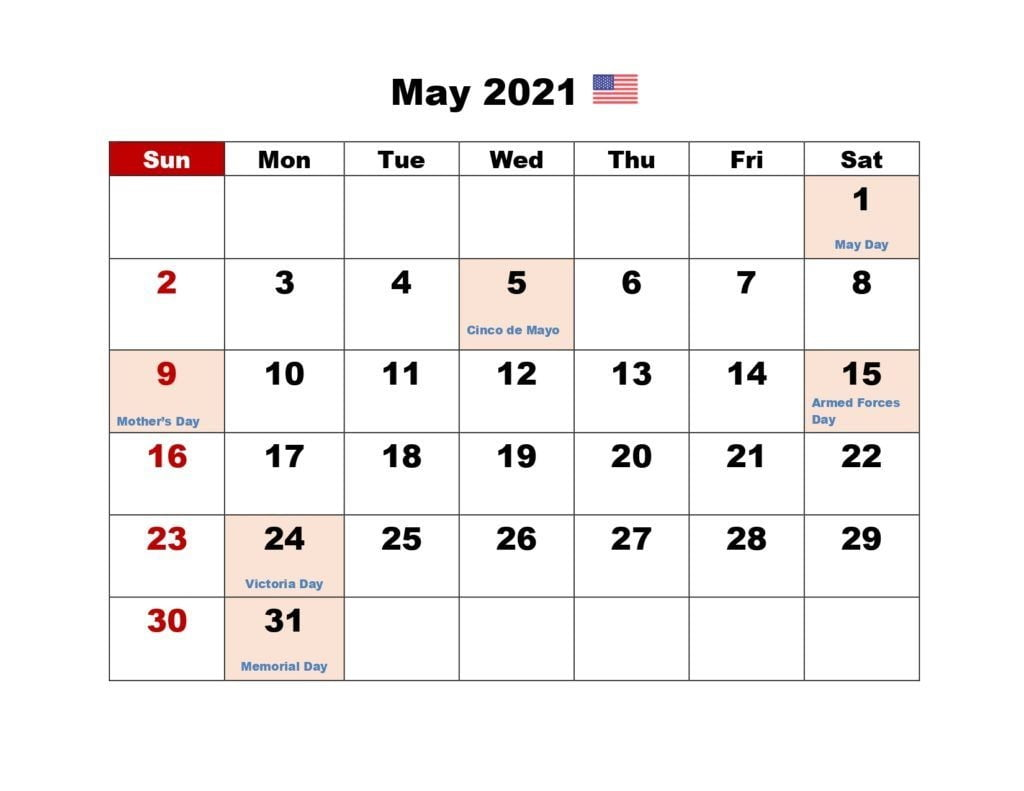 May 2021 Calendar With Holidays Download