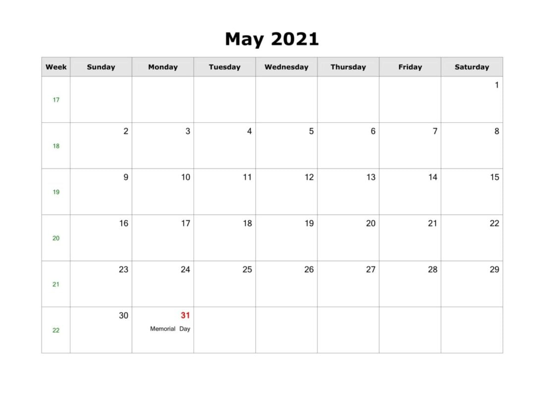 May 2021 Calendar With Holidays Free