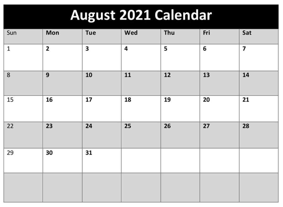 August 2021 Calendar Template With Holidays