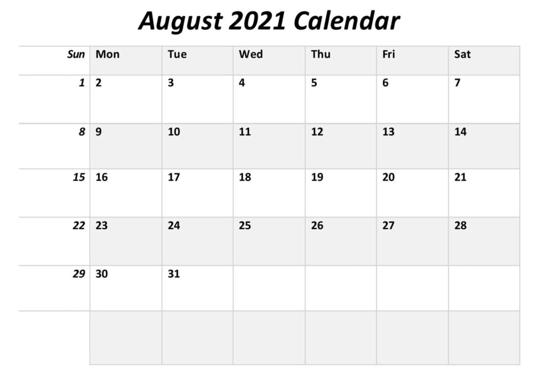 August 2021 Calendar Template With Notes