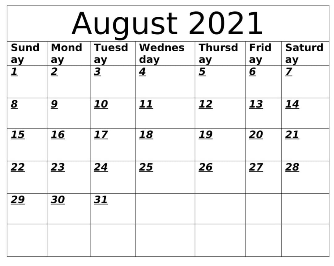 August 2021 Calendar With Holiday