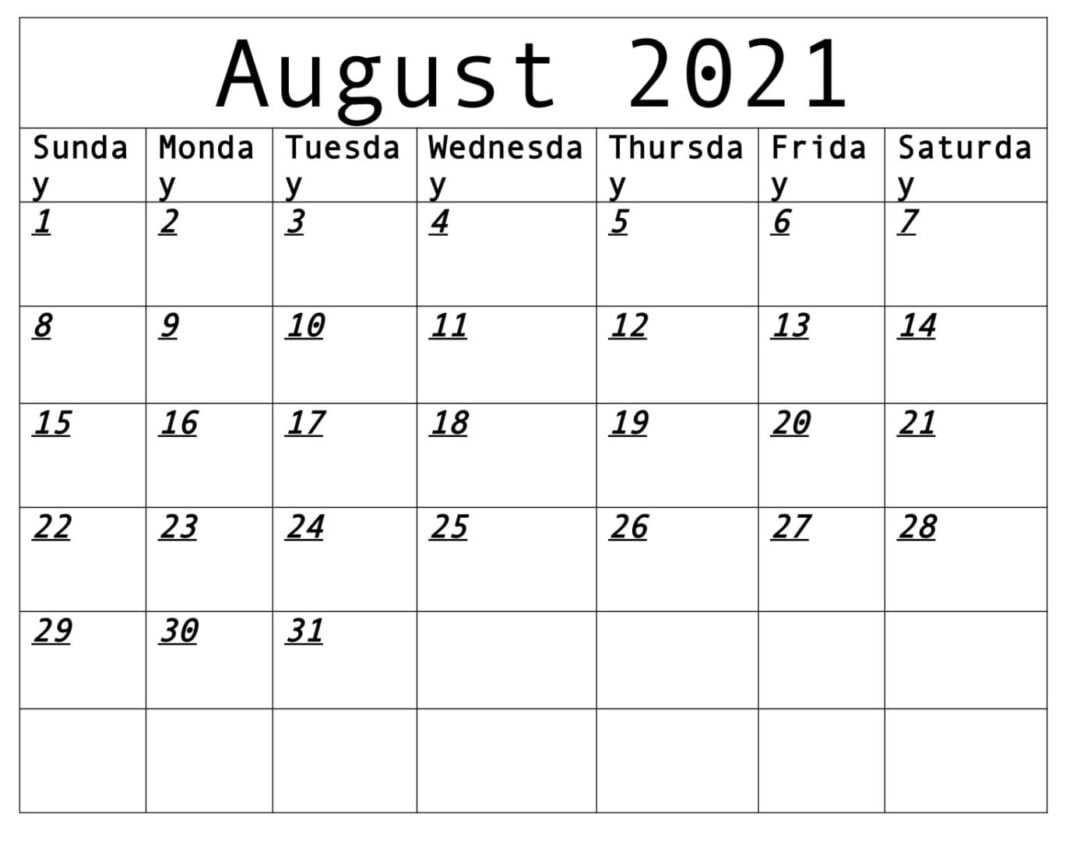 August 2021 Calendar With Holidays Free