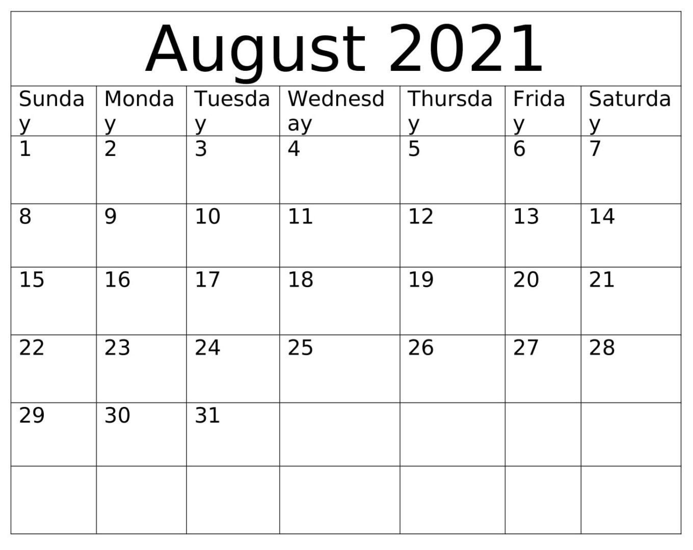 August 2021 Calendar With Holidays PDF