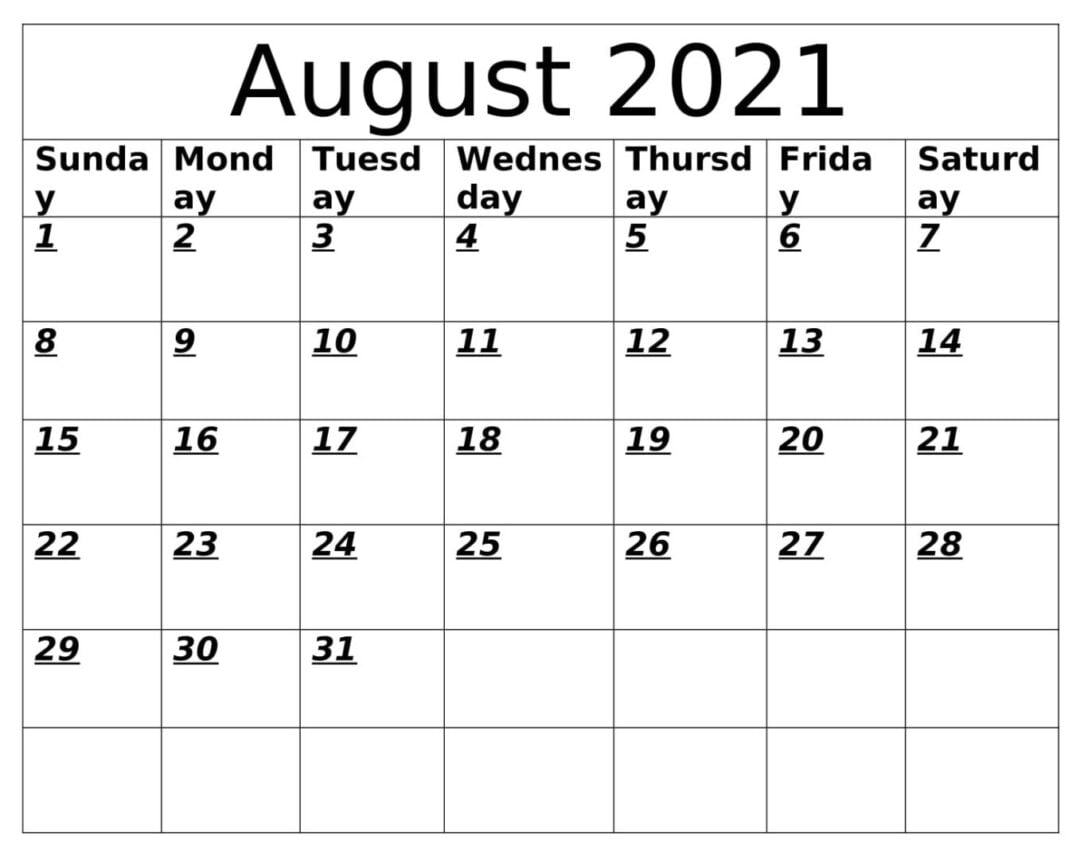 August 2021 Calendar With Holidays Template