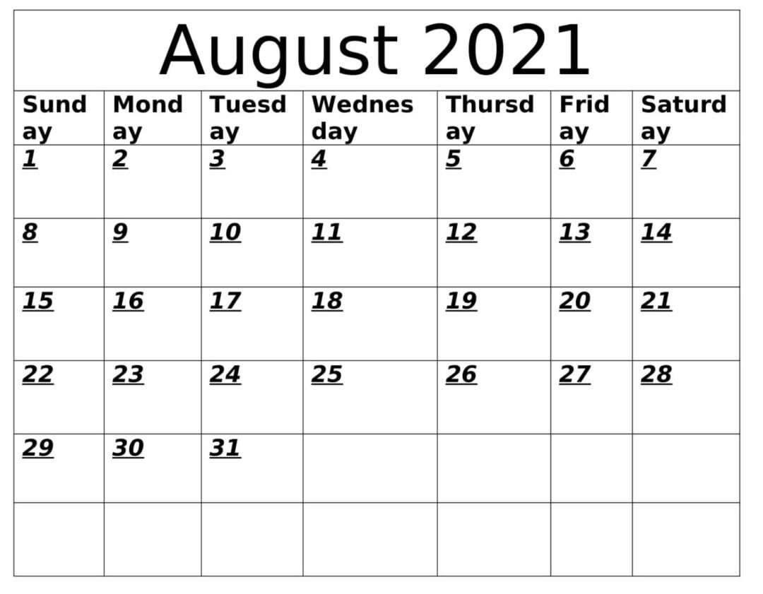 August 2021 Calendar With Holidays
