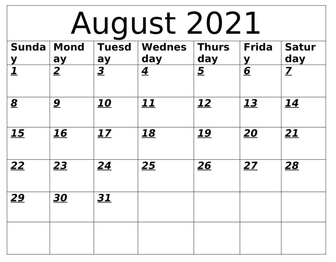 Download August 2021 Calendar With Holidays