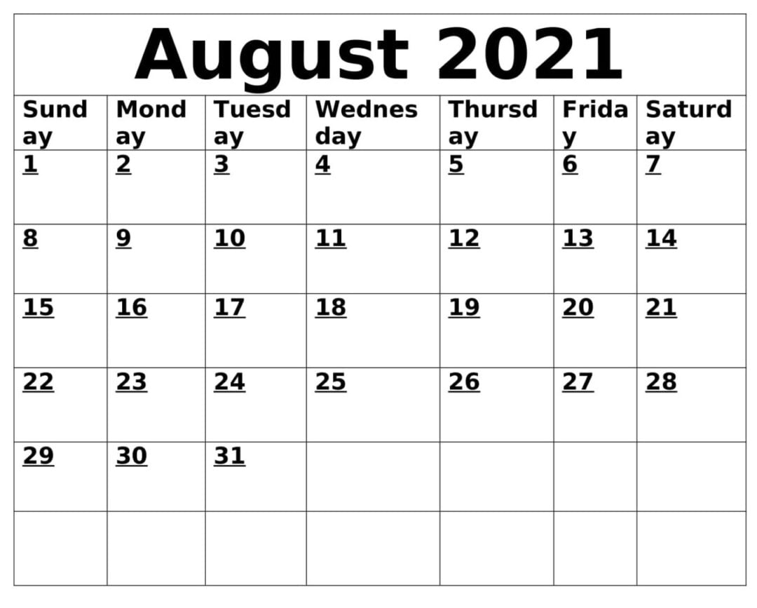 Print August 2021 Calendar With Holidays