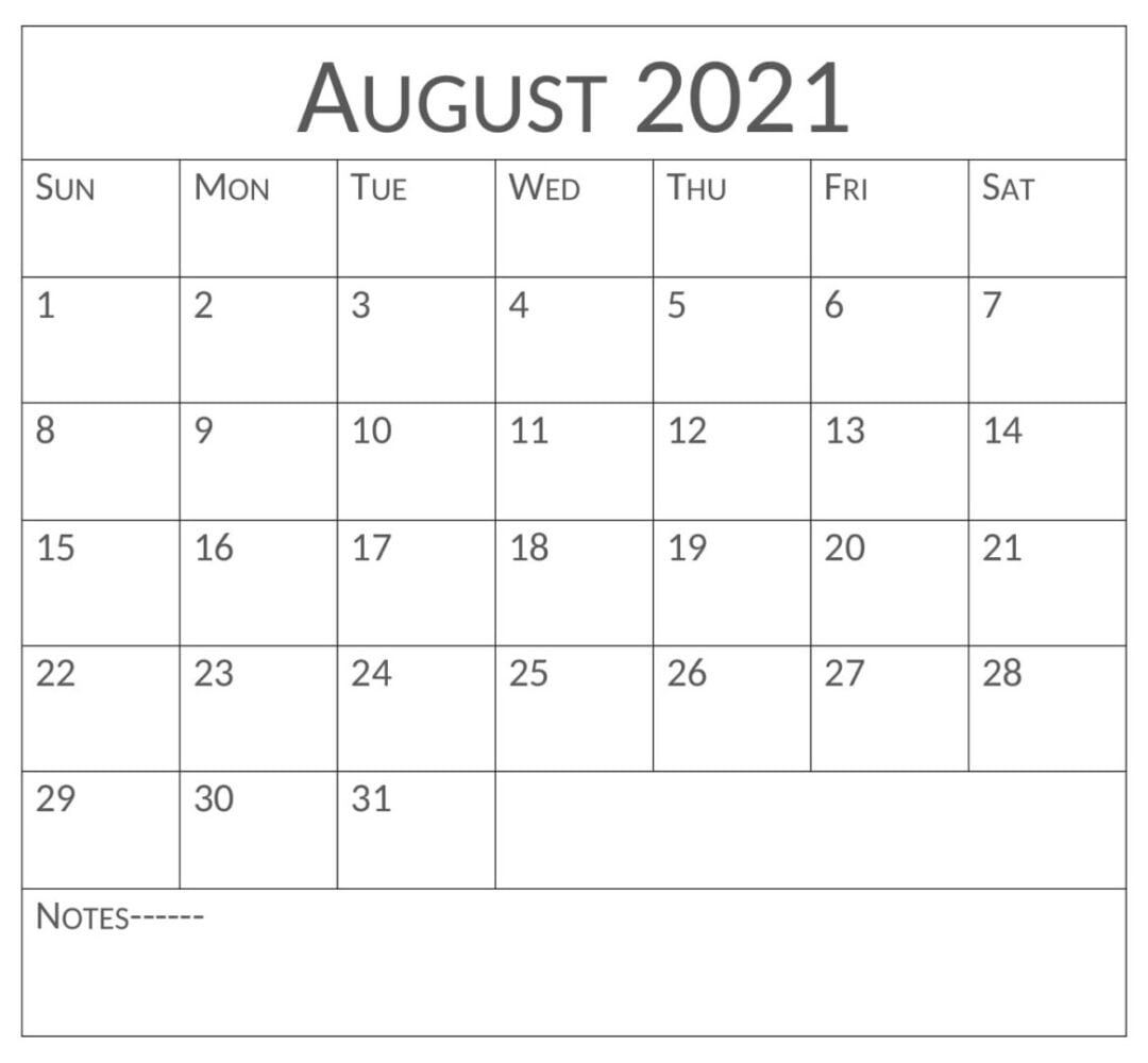 Printable August 2021 Calendar With Notes