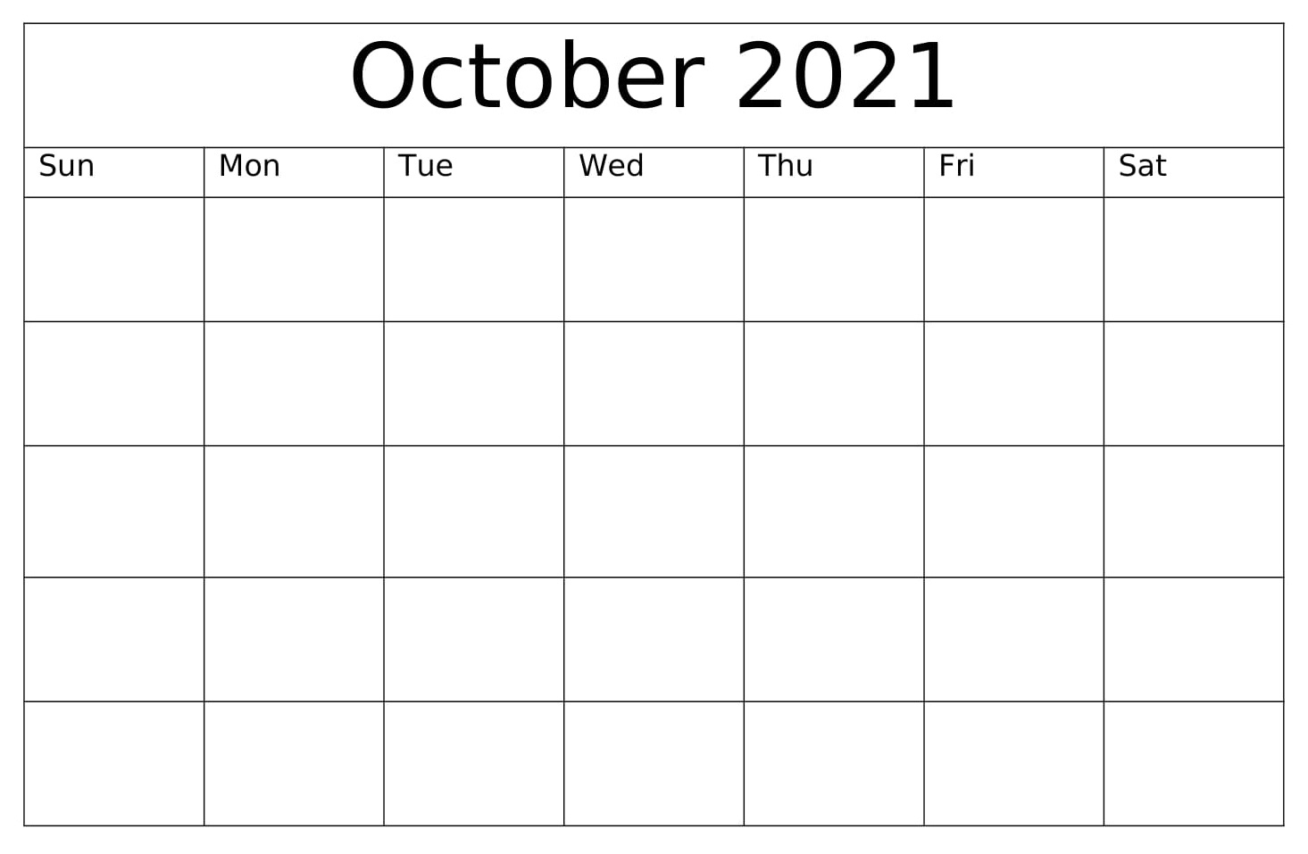 Blank October 2021 Calendar With Notes