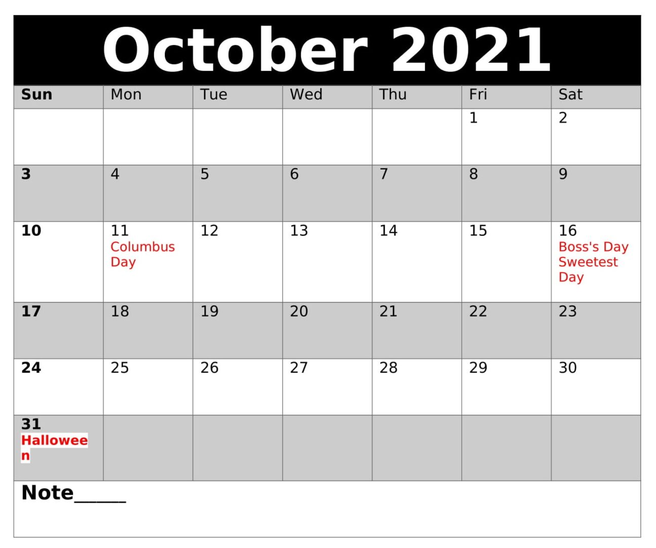 Download October 2021 Calendar With Holidays