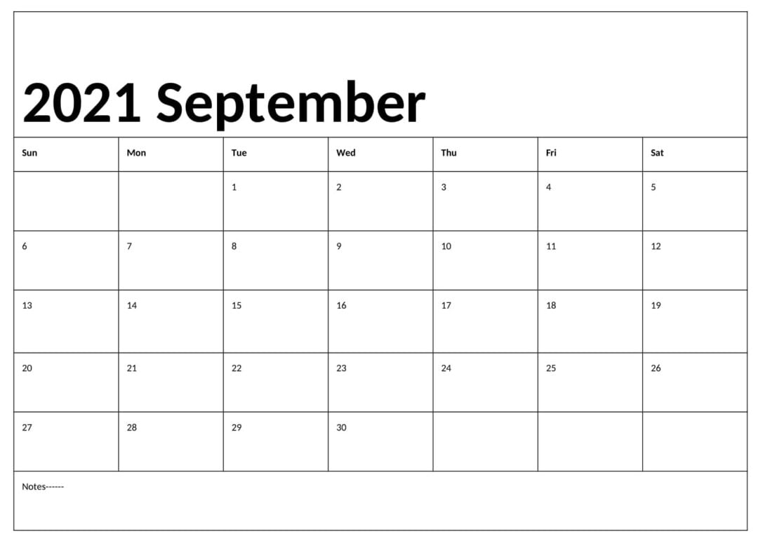 Editable September 2021 Calendar With Holidays