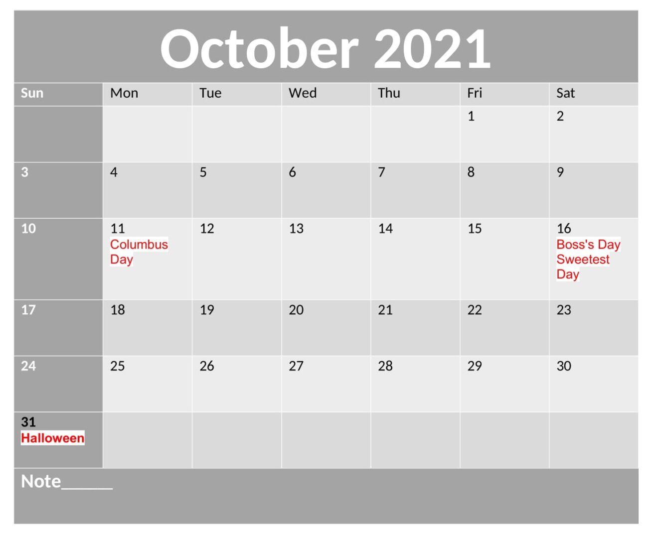 Free October 2021 Calendar With Holidays