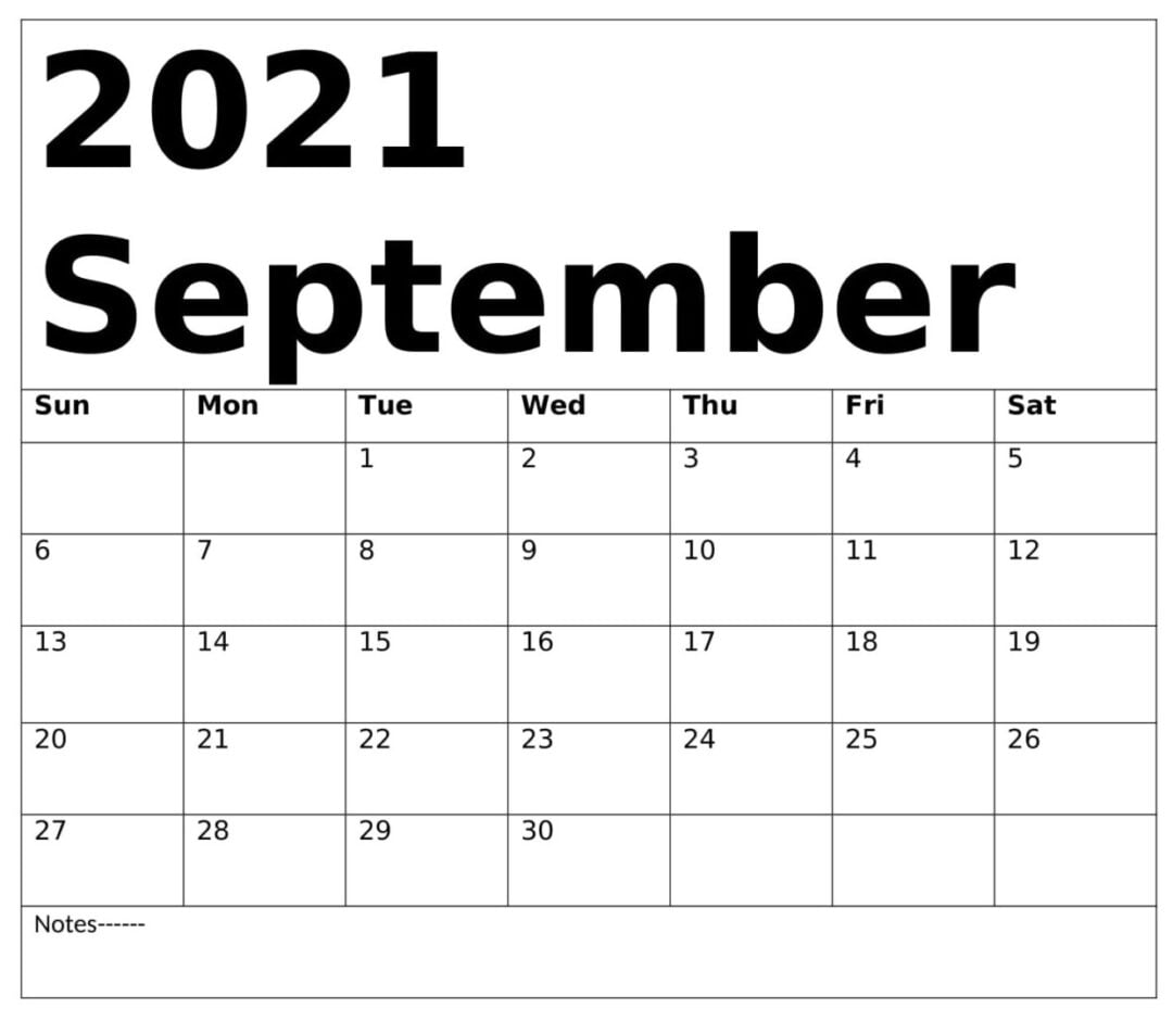 Free September 2021 Calendar With Holidays