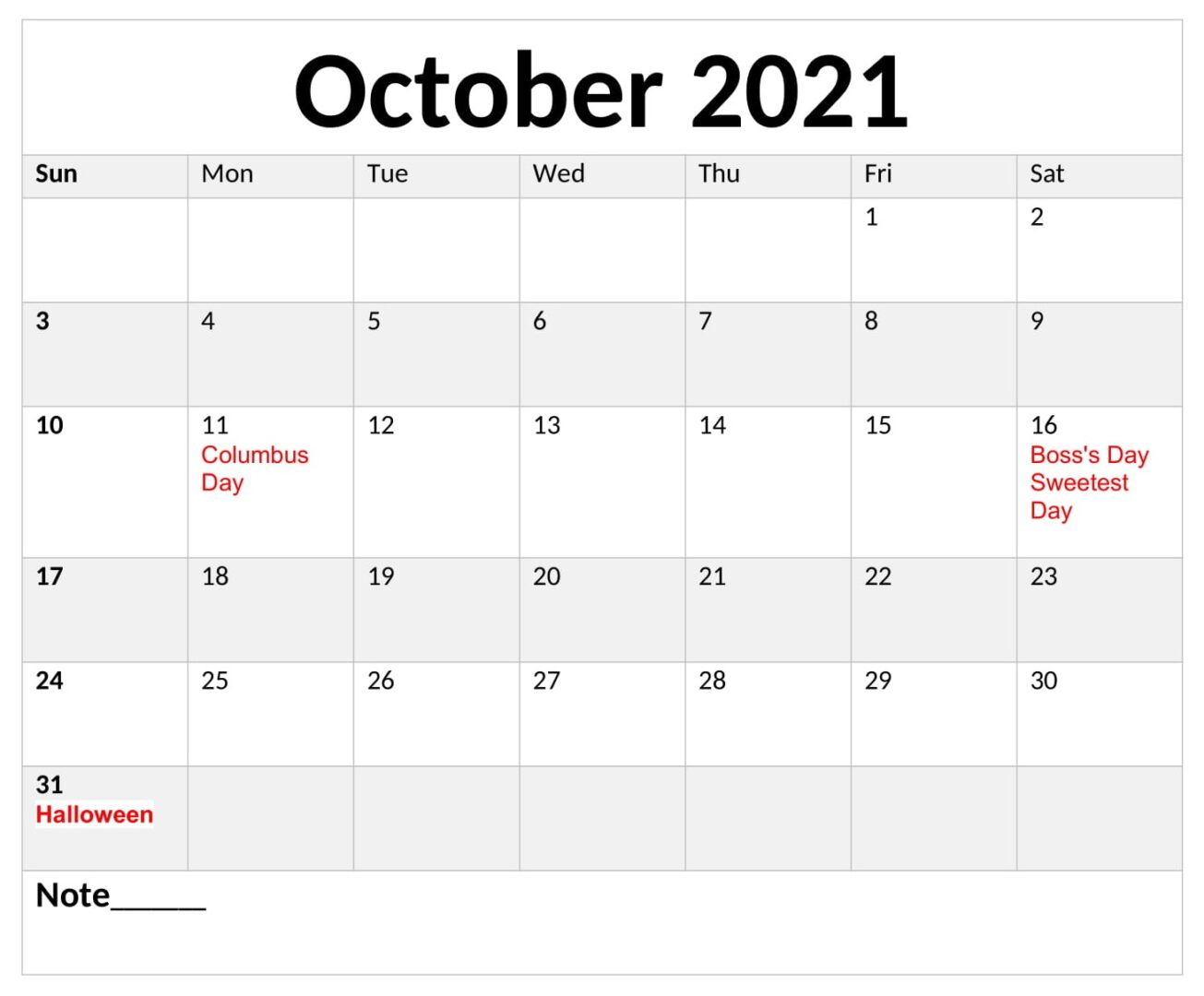 October 2021 Calendar With Holiday