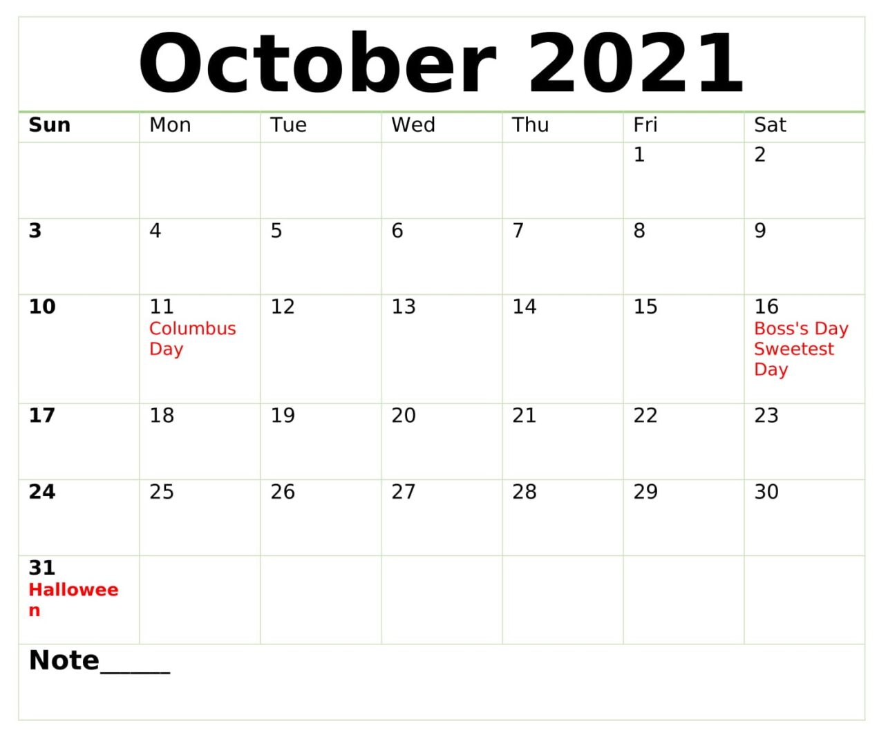 October 2021 Calendar With Holidays Download