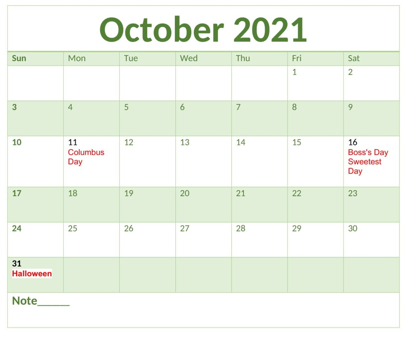 October 2021 Calendar With Holidays Free
