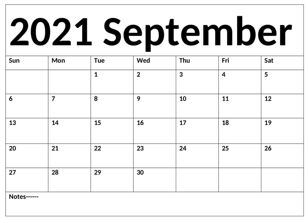 September 2021 Calendar With Holidays Download