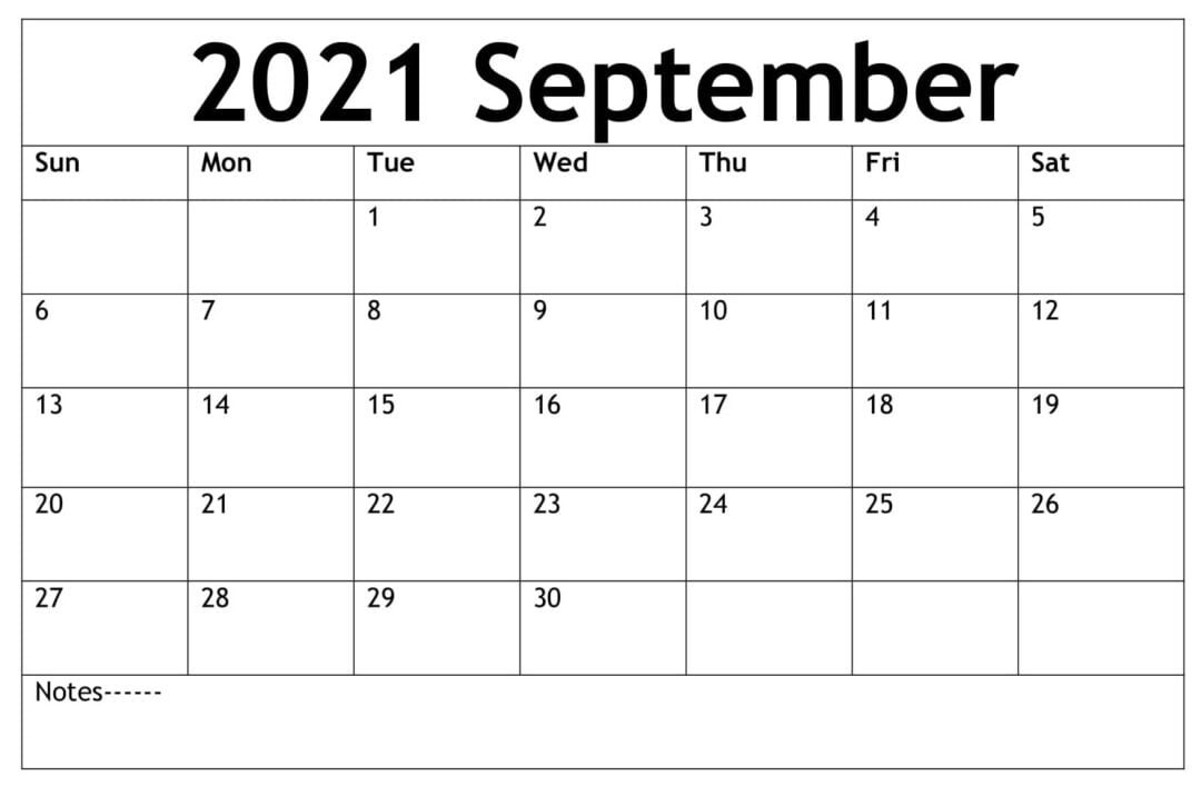 September 2021 Calendar With Holidays Free
