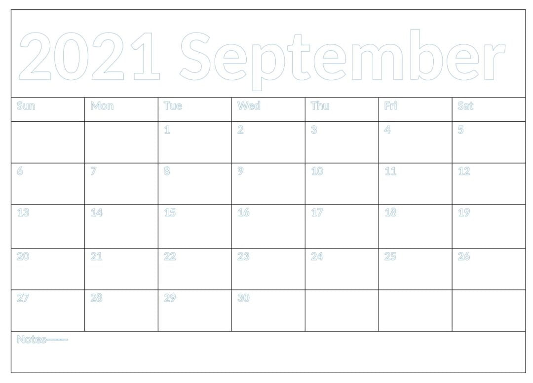 September 2021 Calendar With Holidays Template
