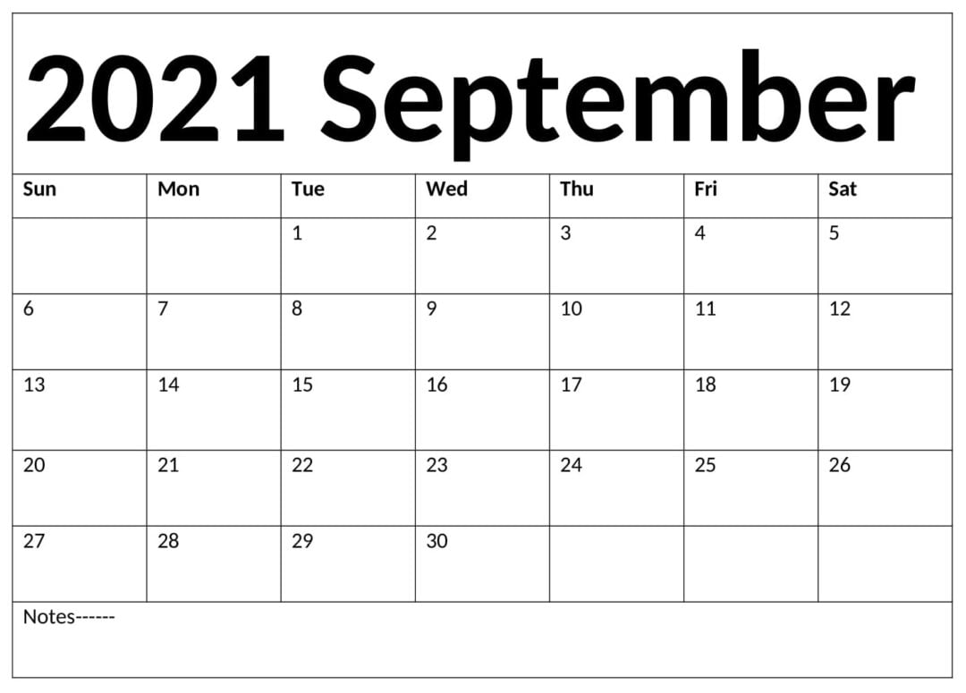 September 2021 Calendar With Holidays