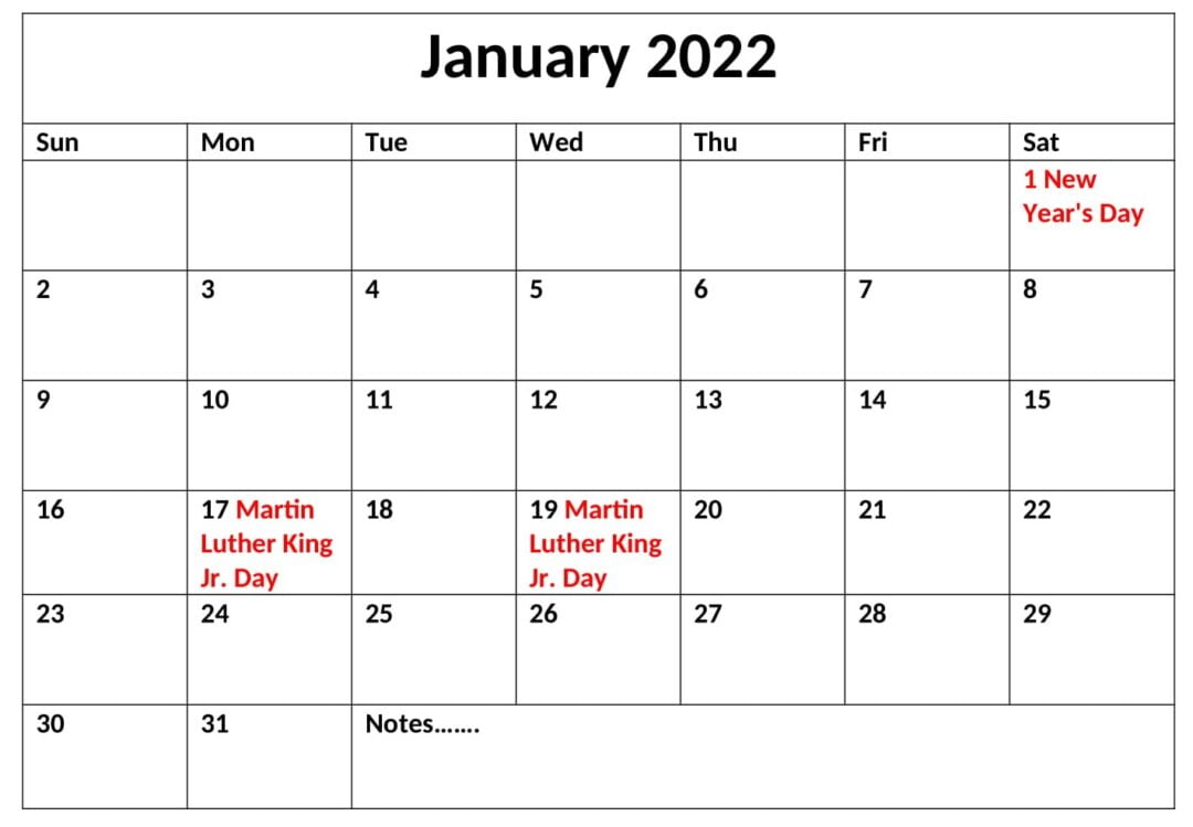 Download January 2022 Calendar With Holidays