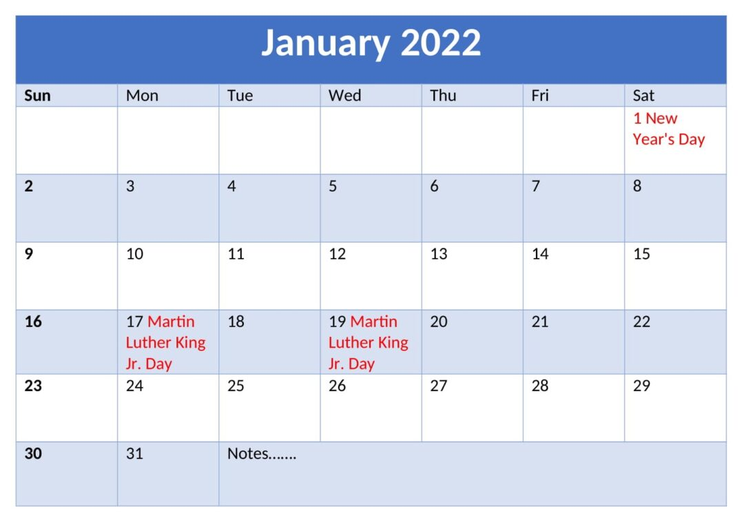 Online January 2022 Calendar With Holidays